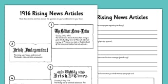 1916 Rising News Articles Worksheet - Easter 1916 Rising, irish history, newspaper articles, evidence, worksheet