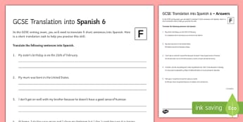 GCSE Translation into Spanish Foundation Tier 6 Activity Sheet