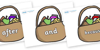 Connectives on Baskets - Connectives, VCOP, connective resources, connectives display words, connective displays