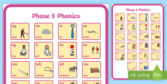 Phase 5 Phonics Large Poster - phase 5, phonics, poster, display