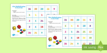 Four in a Row Dice Multiplication Game - Four in a Row Dice Addition Game - four in a row, dice multiplication, multiply, times tables