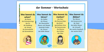 Summer Senses German Word Mat