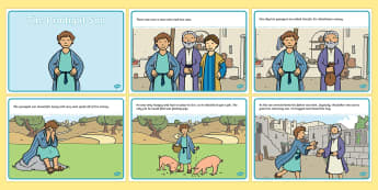 The Prodigal Son Story Sequencing (A4) - The Prodigal Son, son, father, prodigal, the lost son, lost, sequencing, story sequencing, story resources, A4, cards, coming back, father and son, jealous, pigs, inheritance, return, party, feast