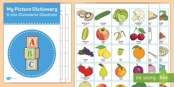 Picture Dictionary Food and Drinks Word Cards Pack  - food, pack, EAL, flashcards, Italian, vocabulary, language