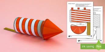 Simple 3D Firework Printable Activity Paper Craft