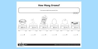 How Many Grams Activity Sheet - Measurement, grams, kilograms, weight, weigh, measure, year 1, worksheet