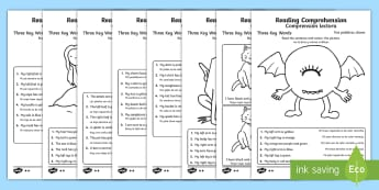 Reading Comprehension – Three Key Words Activity Sheets English/Spanish - Reading comprehension, information carrying words, key words, follow instructions, worksheet, activi