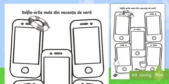 Selfie în vacanța de vară Pagini de scris - scriere, română, fișe. activități, septembrie, revenirea la școală,Romanian