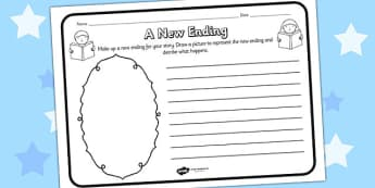 A New Ending Reading Comprehension Activity - a new ending, comprehension, comprehension worksheet, character, discussion prompt, reading, discuss, end worksheet