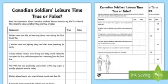 Canadian Soldiers' Leisure Time True or False Activity - History, Junior, Grade 4, Grade 5, Grade 6, wW1, first World War,