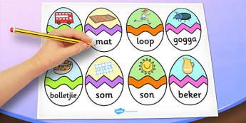 Afrikaans CVC U Words Easter Egg Matching Activity - afrikaans