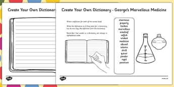 George's Marvellous Medicine Key Vocabulary Create Your Own Dictionary