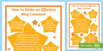 How to Write an Effective Blog Comment Display Poster - computers, blogging, blogs, iCT, blog, tech2Tools