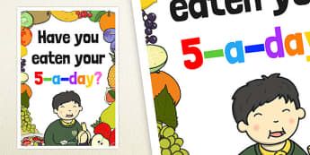 Have You Eaten Your 5 a Day? Poster - posters, displays, display