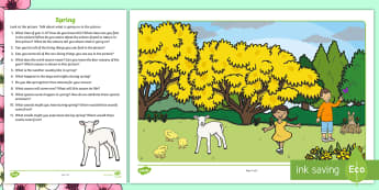 Spring Oral Language Activity Sheet - worksheet, oral language, talk and discussion, spring, seasons, questions, answers,Irish