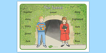 Word Mat to Support Teaching on The Tunnel - tunnel, word mat, keywords, story books