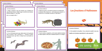 Cartes de défis : Les fractions d'Halloween - mathématiques, nombres, équivalent, cycle 2, cycle 3