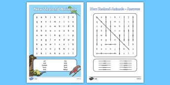 New Zealand Animals Word Search