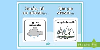 Weather and Season display Poster Gaeilge - Gaeilge, Irish, weather, aimsir, season, séasúr, calendar