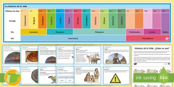 Línea de tiempo de exposición: Historia de la vida   - Línea de tiempo, historia, vida, tierra, eventos, extinciones, era, período, época, dinosaurios,