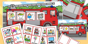 KS1 Fire Engine Themed Individual Visual Timetable Pack - fire engine