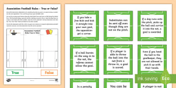 Association Football Rules - True or False Sorting Activity Sheet - Referee, offside, soccer, world cup, red card, yellow card, worksheet