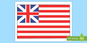 Grand Union Flag Display Poster - Social Studies, History, Colonial America, Thirteen Colonies, Original U.S. Flag