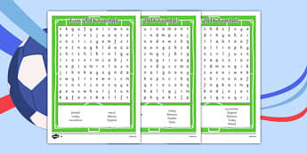 Euro 2016 Football Word Search - euro 2016 football, word search, activity