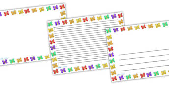 Butterfly Full page Borders (Landscape) - page borders, butterfly page borders, butterfly borders for page, landscape, minibeasts, A4, border for page