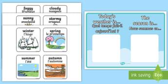 Weather and Season Display Poster English/French - Weather and Season Display Poster - weather and seasons, weather, seasons, display poster, display,