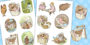 The Tale of Mrs Tiggy Winkle Story Cut Outs - mrs tiggy winkle, story, cut outs