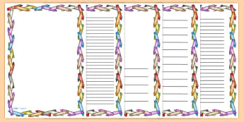 Crayon Page Borders - colouring, colouring in, writing template