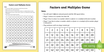 Factors and Multiples Board Game-Scottish
