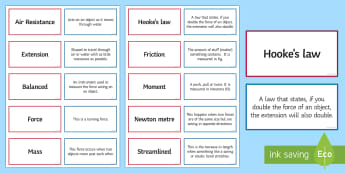 Forces Pairs Glossary Activity - Glossary, forces, extension, Hooke's Law, mass,  balanced, friction.