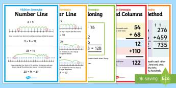 Addition Strategy Posters - addition, strategy, posters, display, add, display posters