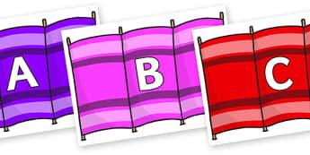 A-Z Alphabet on Windbreakers - A-Z, A4, display, Alphabet frieze, Display letters, Letter posters, A-Z letters, Alphabet flashcards