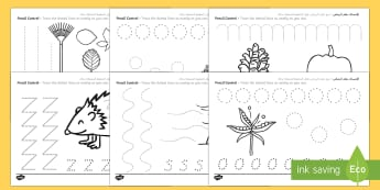 Autumn Themed Pencil Control Sheets Arabic/English - Autumn Themed Pencil Control Sheets - pencil control worksheet, autumn, pencil control, autumn penci
