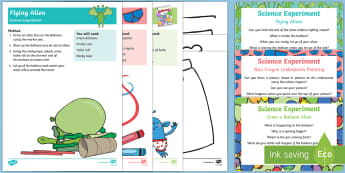EYFS Aliens and Underpants Science Experiments Resource Pack - Aliens Love Underpants, Claire Freedman, space, balloon, gas, fizzing, alien, little green men