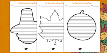 Thanksgiving Shape Poetry Template - Thanksgiving, shape poetry