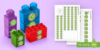 Caterpillar Numbers to 10 Connecting Bricks Game - EYFS, Early Years, KS1, Connecting Bricks Resources, duplo, lego, plastic bricks, building bricks, l