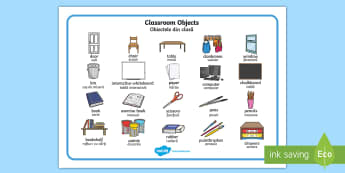 Classroom Objects Word Mat English/Romanian - Classroom Objects Word Mat - classroom objects, classroom, objects, word mat, word, mat, wordmat, oj