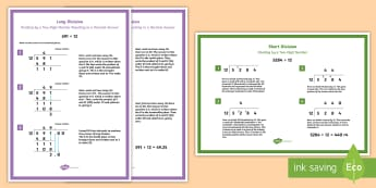 Year 6 Division Formal Written Method Where Answer Involves Decimals Display Posters - short division, long division, formal written method, decimal calculation, decimal answers, splittin