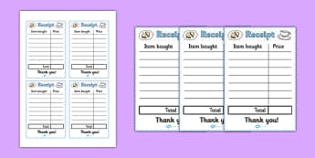 Afternoon Tea Role Play Receipt - afternoon tea, role play, receipt, order, money, pay
