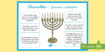 Chanukka informatives Poster für die Klassenraumgestaltung - Hanukkah, Judentum, jüdisch, Fest, Religion, Religionsunterricht, Ethik, ,German