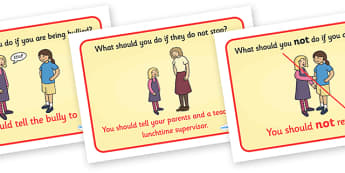 What To Do If Bullied Display Posters - what to do, bully, bullying, being bullied, behaviour, good behaviour, friendship, step up, display, posters, sign, help