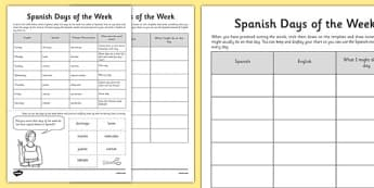 Spanish Days of the Week - spanish, days of the week, days, week, language