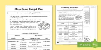 Class Camp Budget Plan Activity Sheet - money, dollars, adding money, shopping budgets, worksheet, decision, organisation, working out, addi