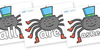 Tricky Words on Spiders - Tricky words, DfES Letters and Sounds, Letters and sounds, display, words