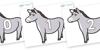 Numbers 0-31 on Donkeys - 0-31, foundation stage numeracy, Number recognition, Number flashcards, counting, number frieze, Display numbers, number posters