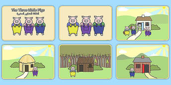 The Three Little Pigs Story Sequencing Arabic Translation - arabic, Three little pigs, sequencing, traditional tales, tale, fairy tale, pigs, wolf, straw house, wood house, brick house, huff and puff, chinny chin chin